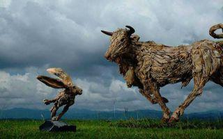 艺术家将废弃物变身惊艳生动的动物雕塑