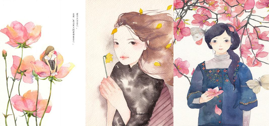 自由插画师林田的森林系女生唯美插画作品