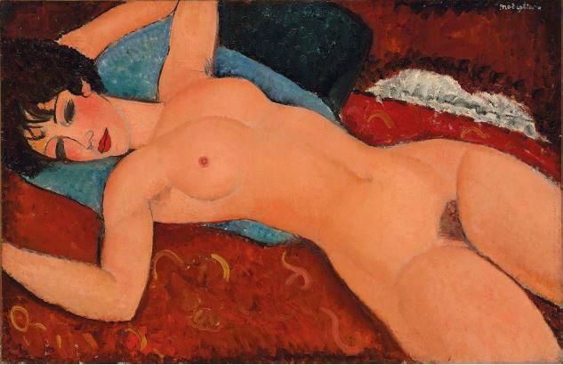 阿米地奥•莫迪里亚尼,《侧卧的裸女》(Nu couché, 1917–18) Courtesy Christie's New York.
