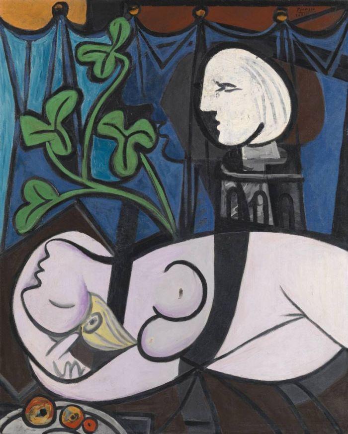毕加索《裸体、绿叶和半身像》