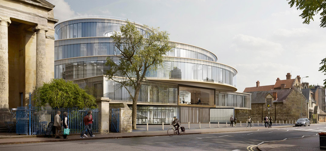赫尔佐格和德美隆建筑事务所设计了位于牛津大学的布拉瓦尼克政治学院。 大约一个世纪过去了(20世纪),牛津大学再也没有出现像这样一座辉煌壮丽的内部建筑。这栋七层楼高的圆柱建筑,被画廊环绕,直至消失之前都是同心圆,最顶两层则变成了偏心。其他的圆圈剥离开来,二级楼梯和灯饰配件,仿佛这里有可居住的星盘一般,一个以前不知道的太阳系模型。主要使用的建筑材料是混凝土,但橡木的气味让它变得温暖,能够让人联想到酒窖和森林。这种形式与纽约古根海姆博物馆的弗兰克·劳埃德·赖特(Frank Lloy