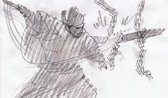 视觉  张艺谋 老谋子《英雄》的分镜头手稿,和老谋子的性格一样,规