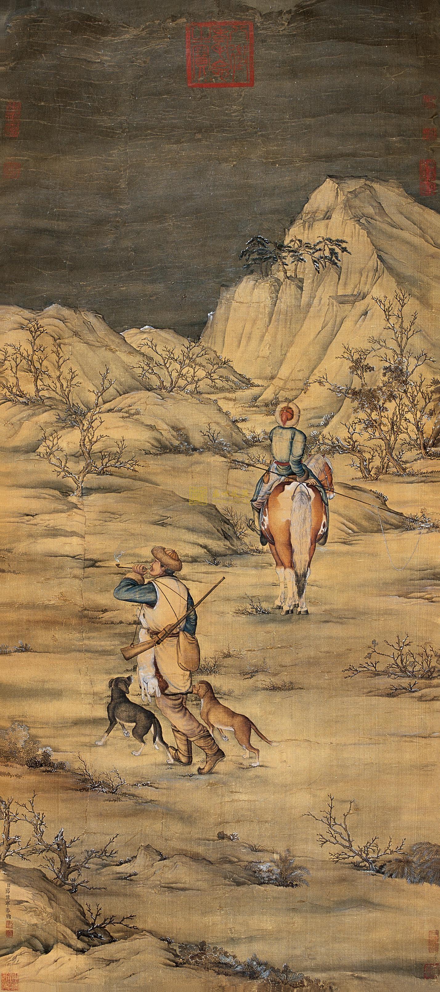 郎世宁 狩猎图 立轴 设色绢本
