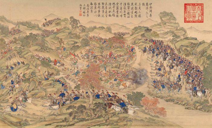 郎世宁《平定准部回部得胜图-伊西洱库尔淖尔之战》