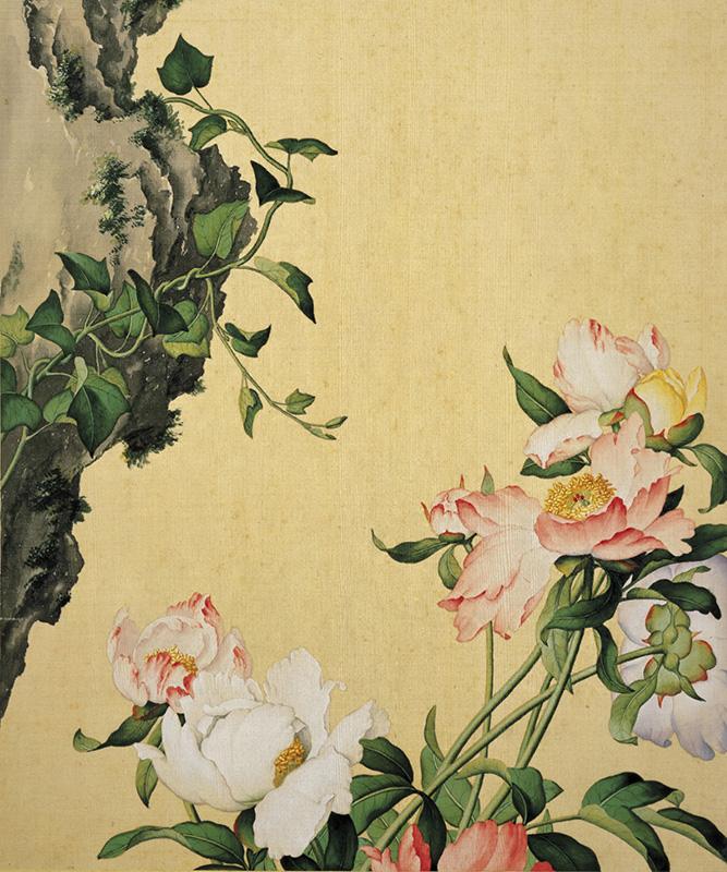 郎世宁《仙萼长春图册-芍药》