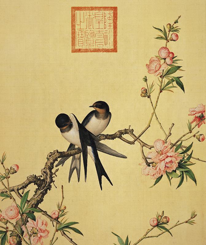 郎世宁《仙萼长春图册-桃花》