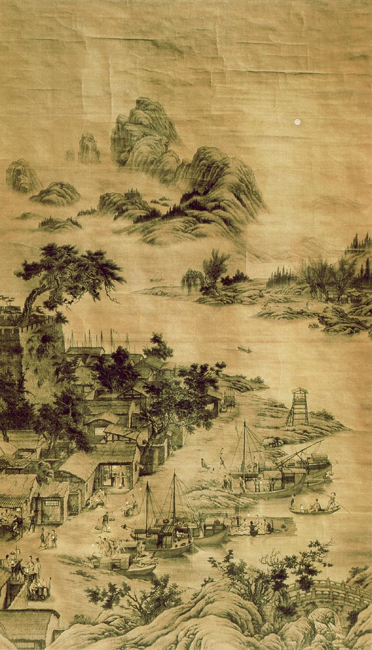 郎世宁《羊城夜市图》