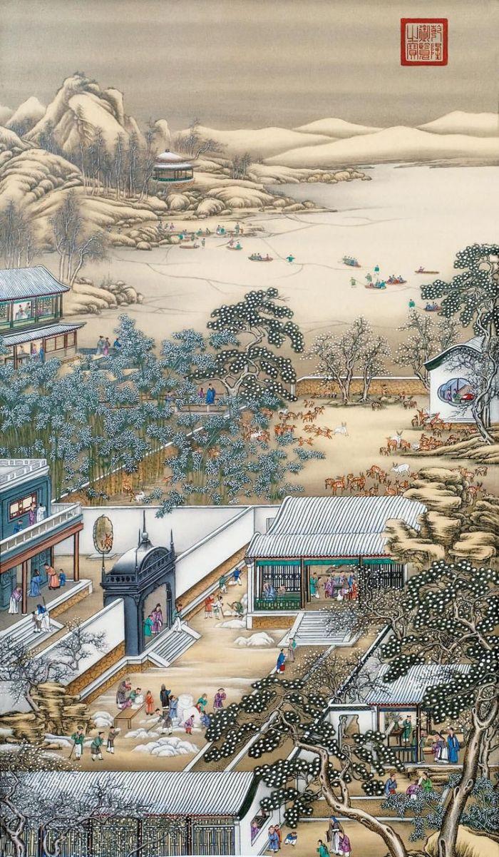 郎世宁《雍正十二月令圆明园行乐图-腊月赏雪》