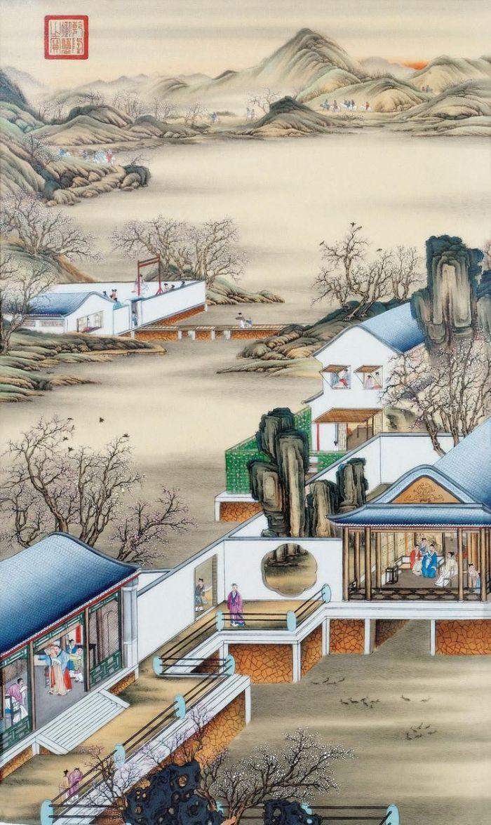 郎世宁《雍正十二月令圆明园行乐图-三月赏桃》
