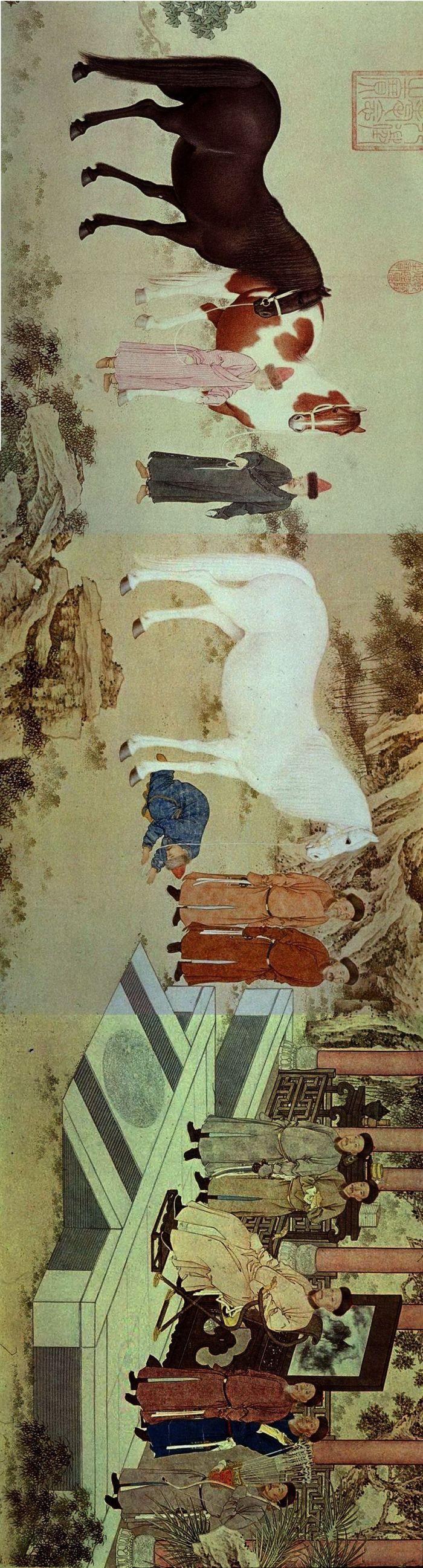 郎世宁《哈萨克贡马图》45.5×269厘米 法国吉美博物馆藏