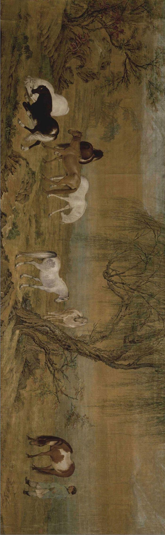郎世宁《郊原牧马图卷》 51.2×166cm 北京故宫博物院藏