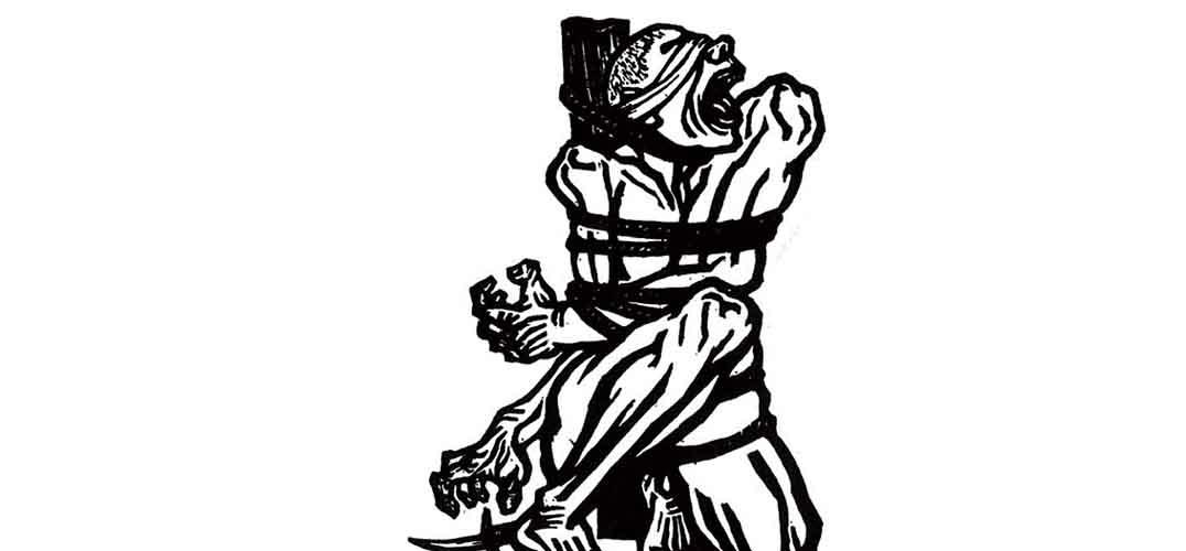 从青年军官到民主斗士 抗日战争爆发后,时局紧迫。李桦不再满足于手执木刻刀的革命工作,而是带着自己刻刀和画笔投身到抗日战争的一线,在第三战区担任文职官员。八年从军期间,李桦从未间断木刻版画的创作,同时还积极的组织、参加新兴木刻的相关活动。他以胜利的刀锋刻绘出广大中国人民谋求解放的呼声,像胜利的号角,震撼着普通民众的心灵。这一时期李桦在创作取材的视野上也比以前开拓了,此次展览中的许多水墨画,其中不仅有直观表现抗日战争场景的作品,还有大量描绘社会生活和自然风景的题材。他用手中的画笔记录了战争带给人们的种种磨难和