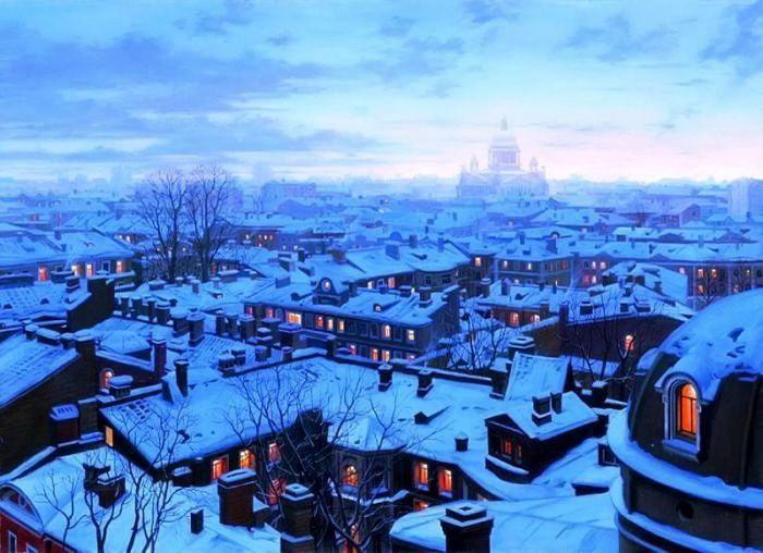 以假乱真的欧洲小镇雪景手绘插画_视觉_视觉_凤凰艺术