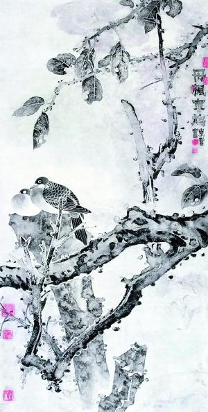 """11月26日,""""吴东奋水墨工笔画展和郭旭华甲骨文作品展"""",在西湖边的杭州"""