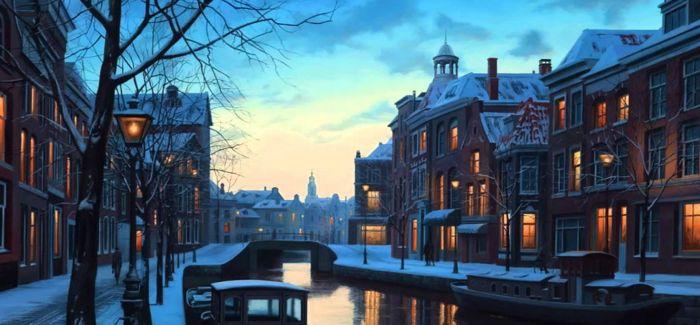 以假乱真的欧洲小镇雪景手绘插画