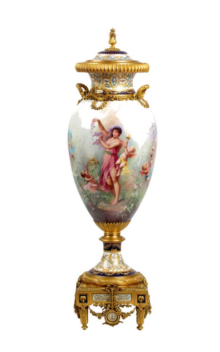 铜鎏金镶嵌塞夫勒彩绘大瓷花瓶