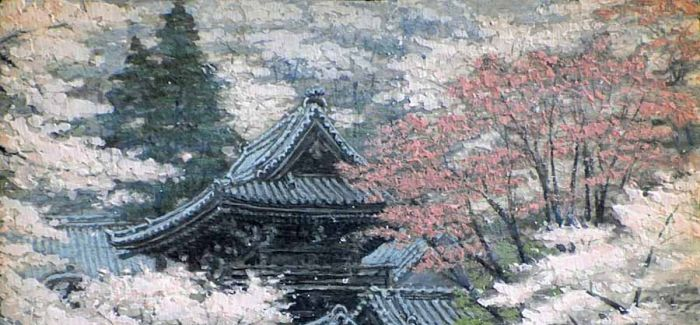 一位和尚在寺庙修行时 把一年四季都画了下来