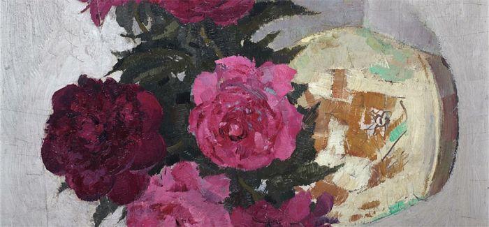 吴冠中木板油画《牡丹花》现拍场 最高估价1200万