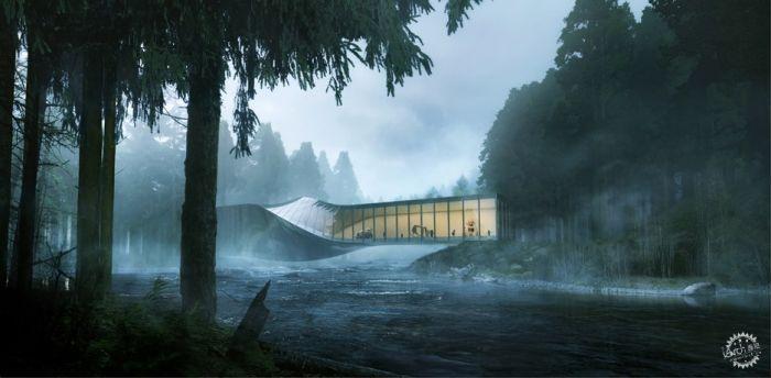 挪威河畔呈扭转造型的艺术馆  /BIG建筑事务所第4张图片
