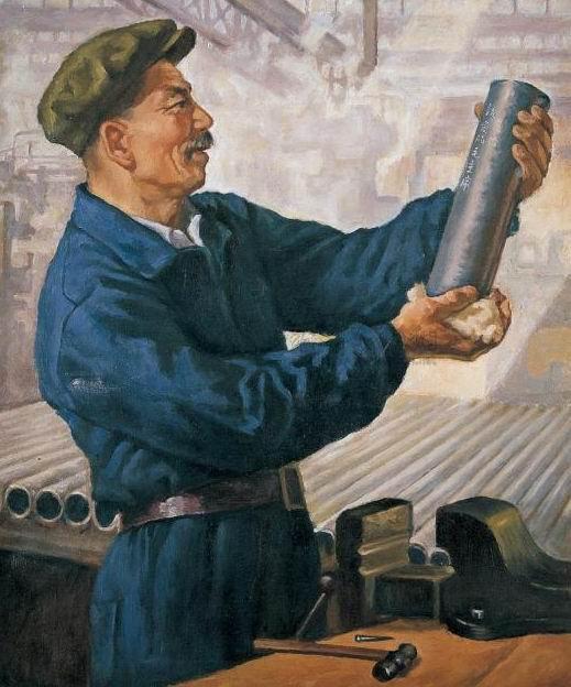 靳尚谊 傅植桂1954年作《把第一根无缝钢管献给毛主席》