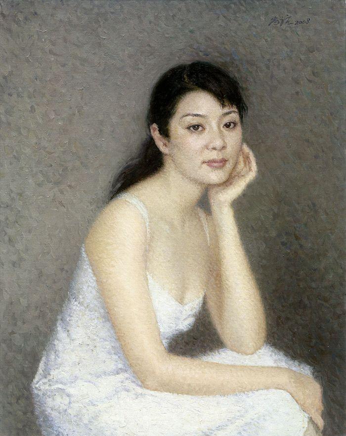 靳尚谊《白衣女孩》78×61cm 2008 布面油画
