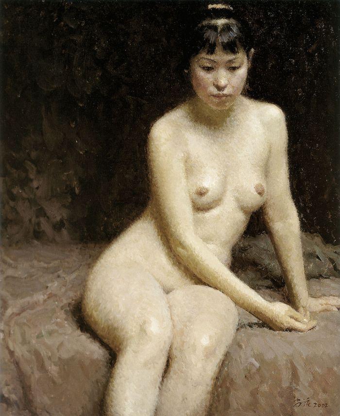 靳尚谊《沉思中的女人体》60×50cm 2002 布面油画