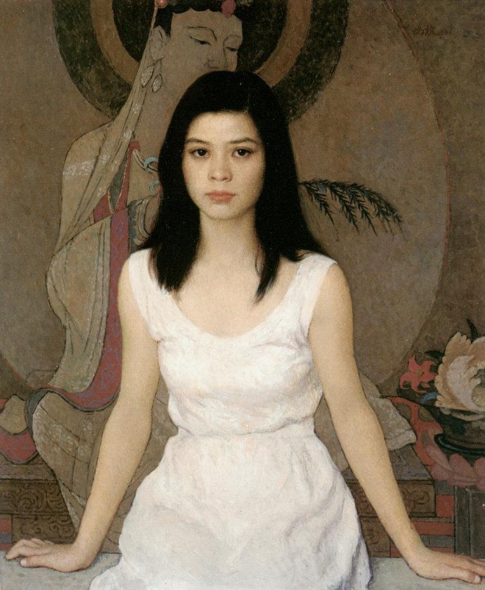 靳尚谊《穿白连衣裙的女孩》80×65cm-1993-布面油画