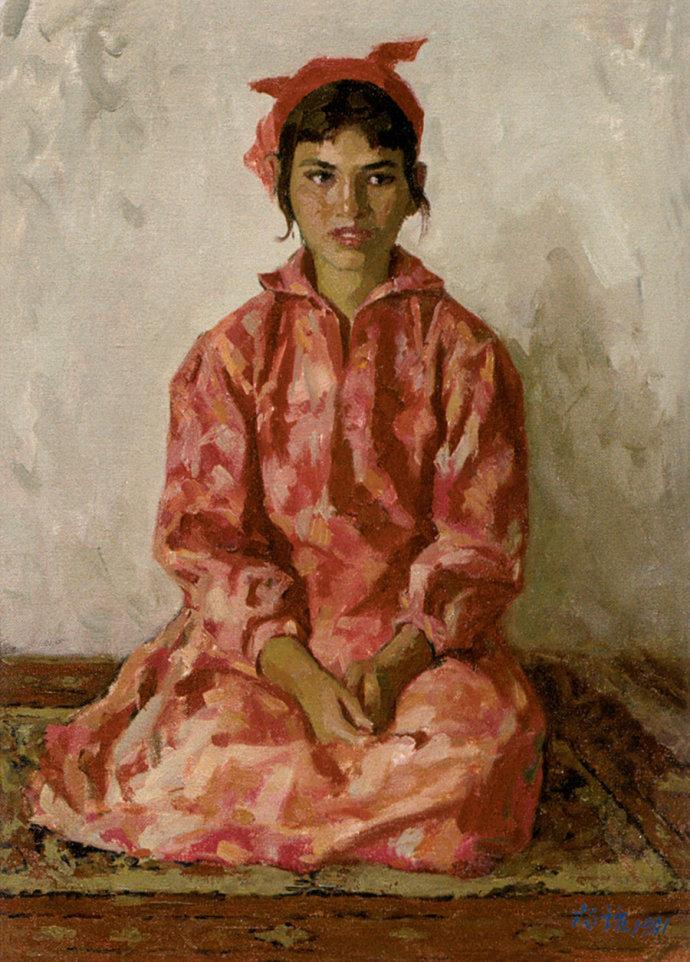 靳尚谊《穿花裙子的维族女孩1981-纸板油画