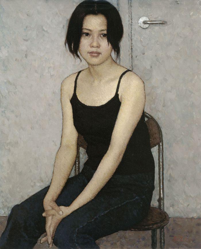 靳尚谊《穿牛仔裤的女孩》65×53.5cm 2000 布面油画