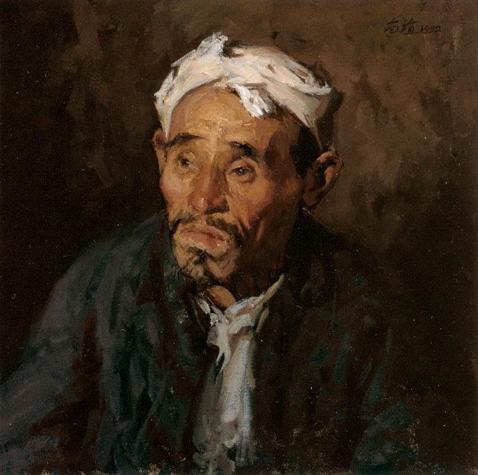 靳尚谊《胆小的农民》55×55cm-1992-布面油画