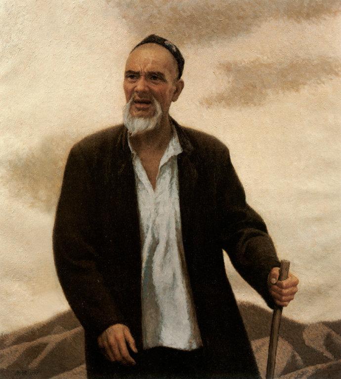 靳尚谊《行走的老人》99×90cm-1995-布面油画-宁波美术馆藏