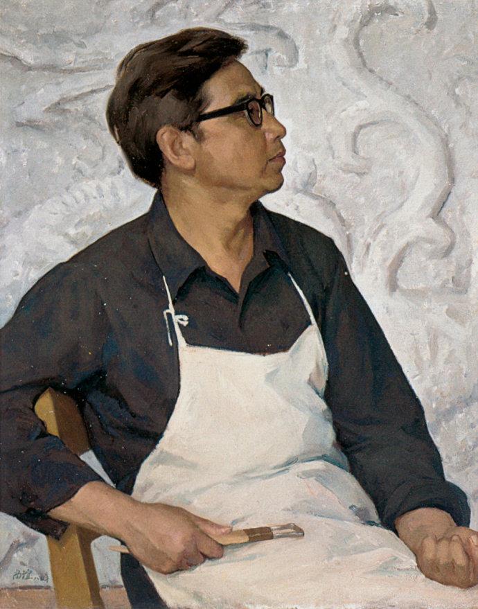 靳尚谊《雕塑家张润凯》76×60cm-1980-布面油画