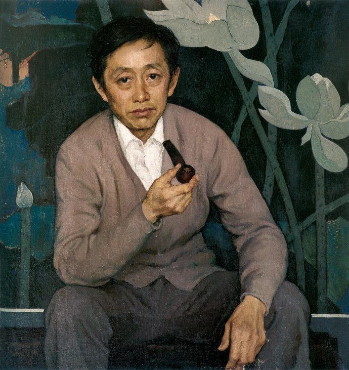 靳尚谊《画家黄永玉》80×80cm-1981-布面油画