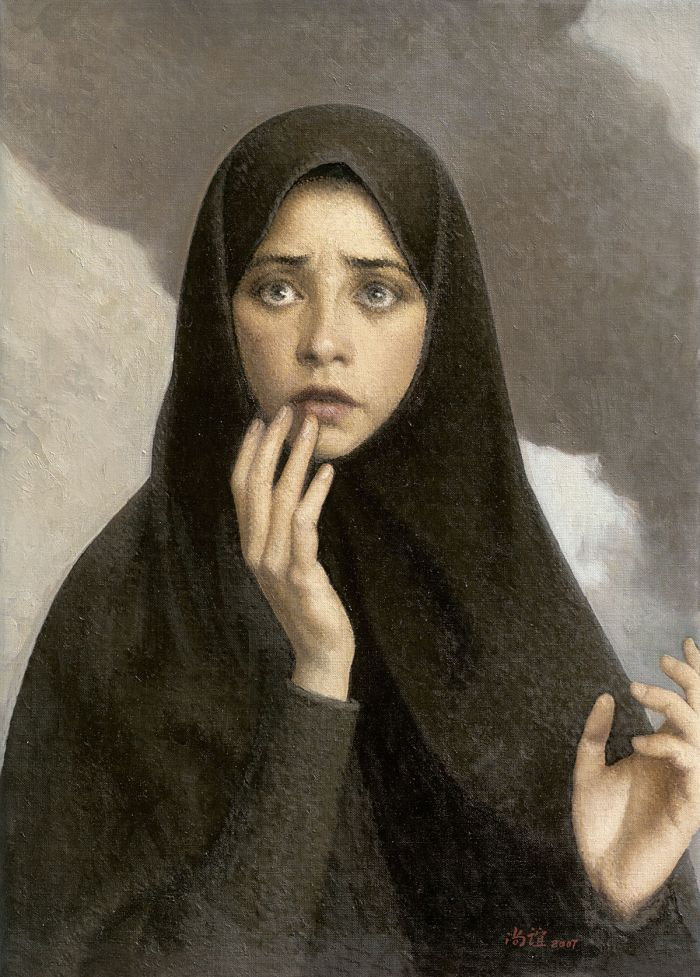 靳尚谊《惊恐的妇女》69.8×49.8cm 2007 布面油画