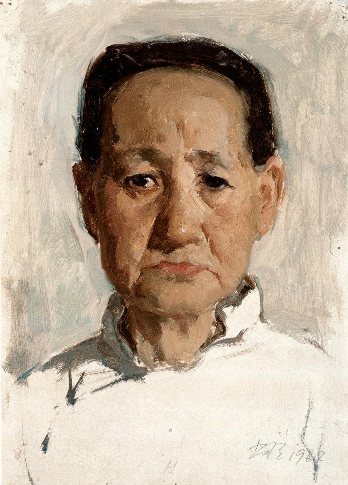 靳尚谊《老大娘》30×21.5cm 1962 纸板油画