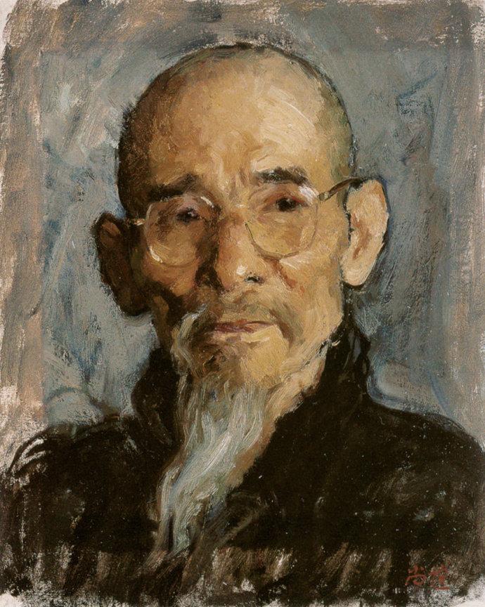靳尚谊《老人肖像》37.7×30.5cm 1996 纸板油画