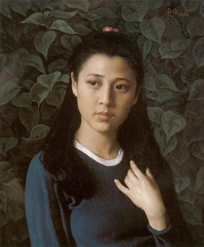 靳尚谊《蓝衣少女》60×50cm-1984-布面油画