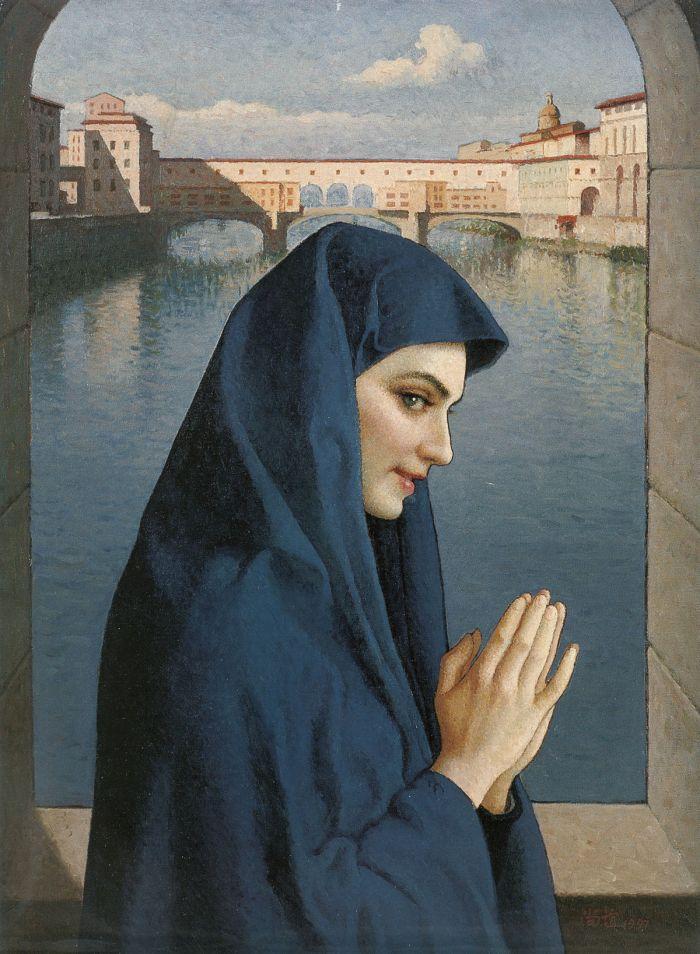 靳尚谊《老桥东望》74×54cm 1997 布面油画