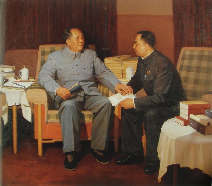 """靳尚谊《毛泽东与华国锋:""""你办事,我放心""""》"""