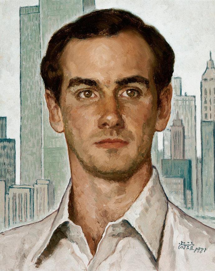 靳尚谊《美国青年》35.5×28cm 1981 纸板油画