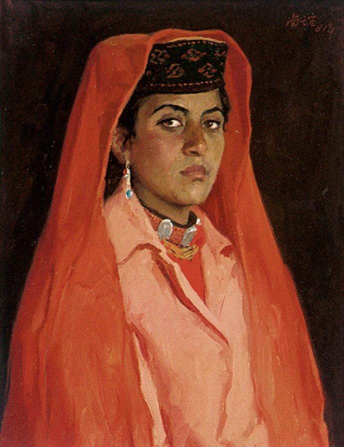 靳尚谊《披红头巾的塔吉克妇女》52×40.1cm 1981 纸板油画