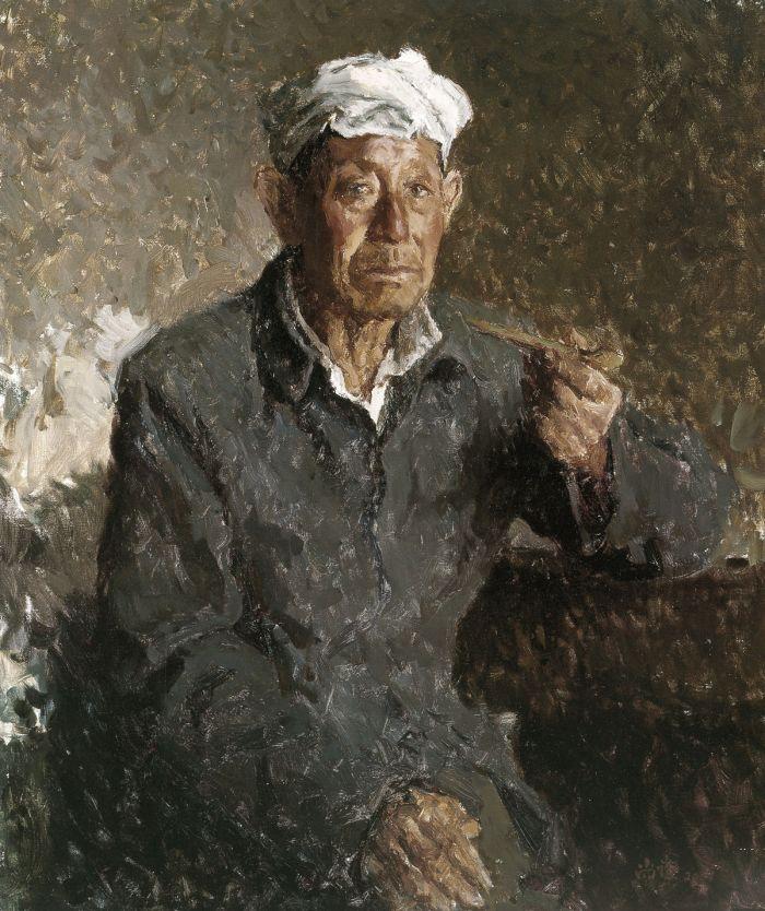 靳尚谊《陕北老汉》59.7×50.1cm 2001 布面油画