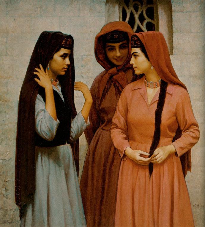 靳尚谊《三个塔吉克少女》100×90cm 1985 布面油画