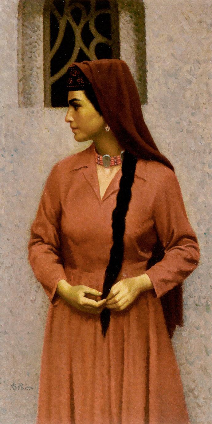 靳尚谊《塔吉克姑娘》110×55cm 1994 布面油画