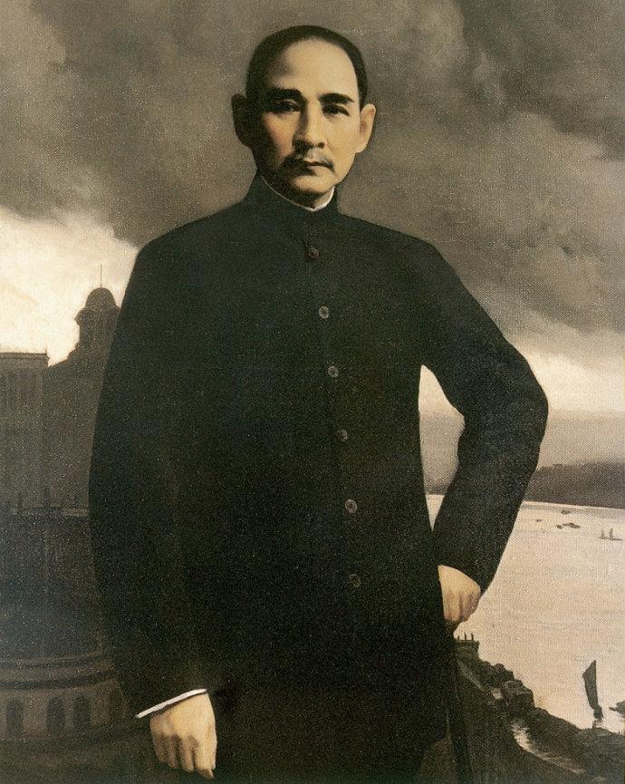靳尚谊《孙中山》70×65cm-1986-布面油画-中国邮政邮票博物馆藏