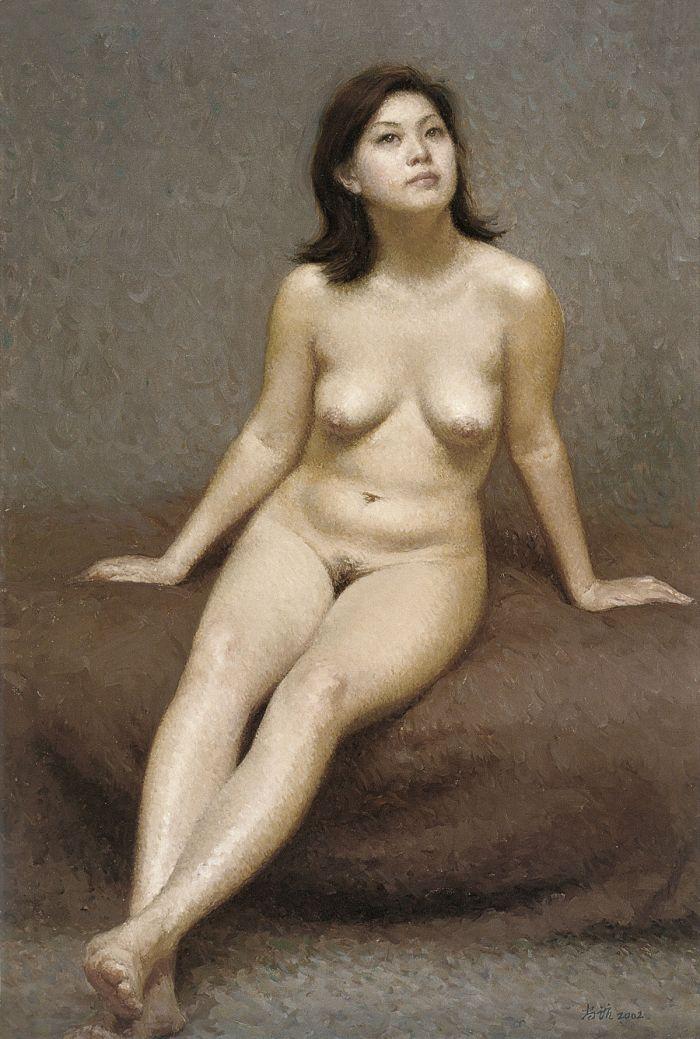 靳尚谊《仰视的女人体》2002 布面油画