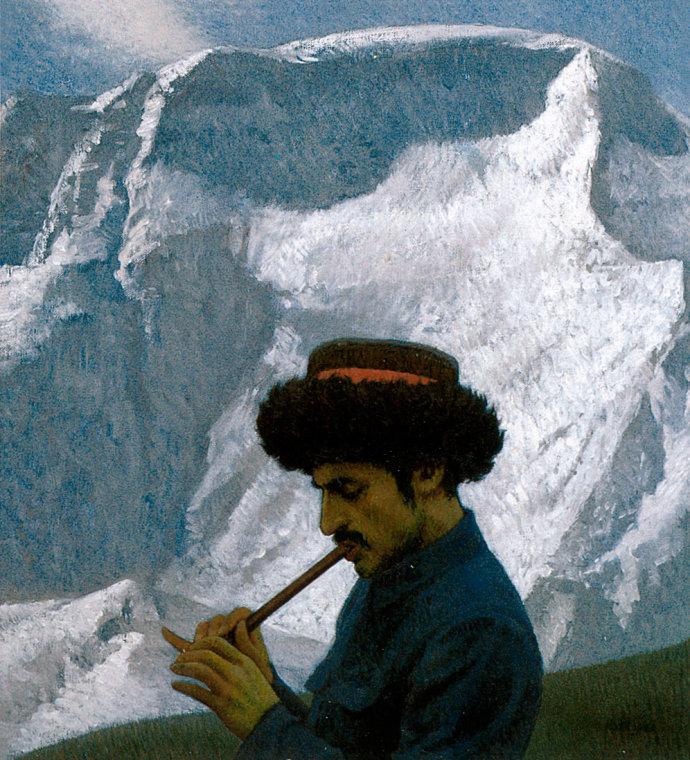 靳尚谊《鹰笛》80×74cm 1986 布面油画