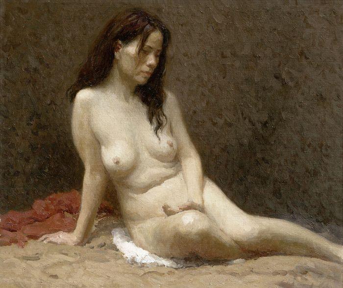 靳尚谊《长发女人体》35×42cm 2008 布面油画