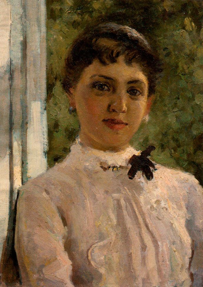 靳尚谊《坐窗台上的女孩(临科洛文) 65×54cm 1962 纸板油画