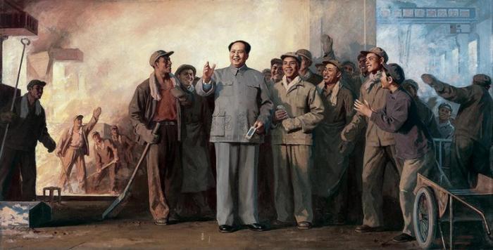 靳尚谊1969年作《毛主席视察上钢三厂》